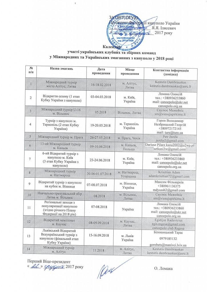 Canoepolo calendar 2018-1